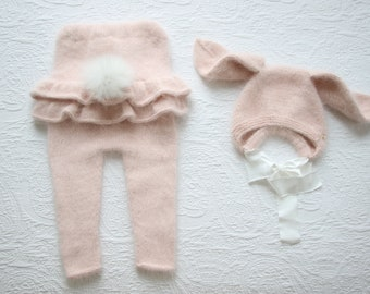 12-18 months - Bunny outfit - Easter outfit - Baby girl ruffle romper - Baby girl bunny bonnet - Ruffle pants and bunny bonnet set - Pink