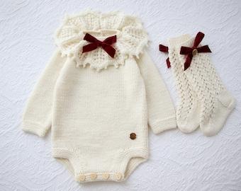3-6 months - Baby girl outfits - Baby girl collar romper - Baby girl high knee socks - Toddler girl romper and socks - Cream merino