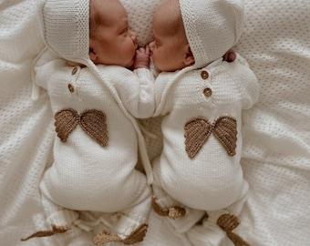 Set of 3 - Baby boy angel set - Long legs romper - Baby boy outfit - Baby boy - White outfit for boy - Baby boy angel set - Baby booties