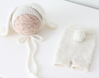 Newborn rabbit – Baby props – Newborn set – Photo props – Baby girl rabbit – Newborn hat – Newborn props – Baby girl props - Easter hat