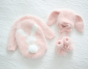 Bunny outfit - Easter outfit - Bunny set - Baby girl bunny - Baby girl bunny - Bunny romper - Bunny set - Pink angora - Bunny bonnet