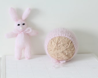 Newborn props - Baby girl set - Photo prop set - Newborn rabbit - Newborn soft pink - Newborn bunny - Photo prop girl - Newborn easter set