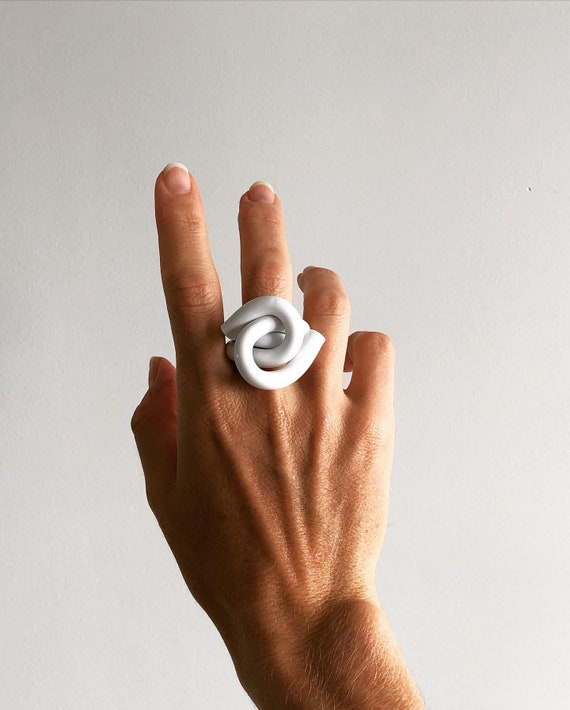 Modern Ring Acrylic Ring White Ring Birthday Gift White Ring Statement Ring Acrylic Knot Ring CLOUD KNOT RING Contemporary Ring
