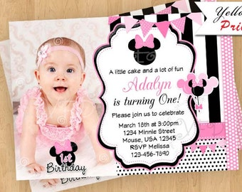 Minnie Mouse Invitation,Pink Polka Dots Invitations, Minnie Mouse Party, Minnie Mouse Birthday Printables Style 1- YOU PRINT