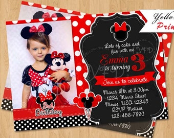 Minnie Mouse Invitation, Red Dots Invitation, Minnie Mouse Party, 1st Birthday, Digital, DIY Print Style 6