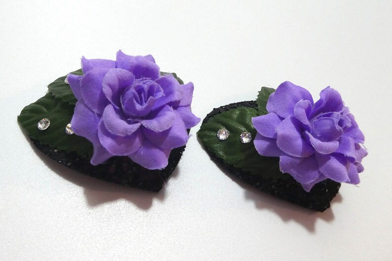 Heart Pasties with Rose and Leaves in Purple