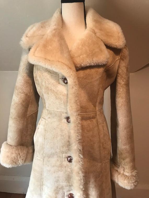 Vintage 1960s 70s Full Shearling Winter Coat