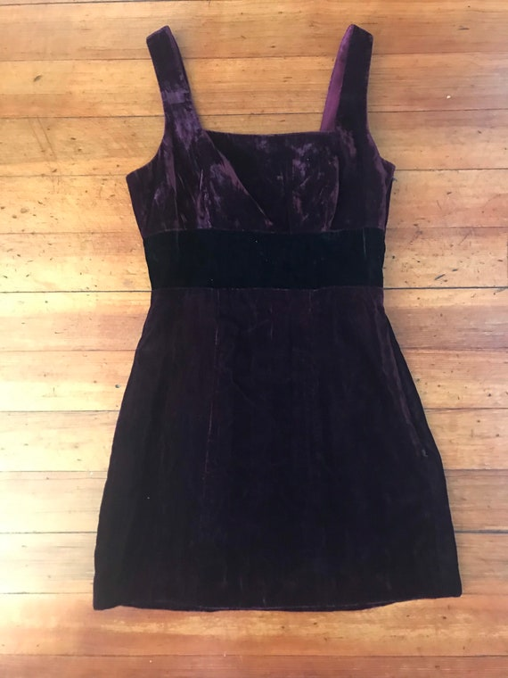 Vintage 90s Lush Velvet Square Neck Mini Dress
