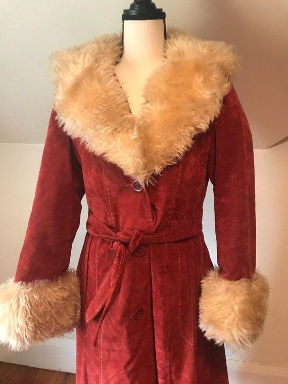 Vintage 1970s 60s Red Suede Faux Fur Trim Coat