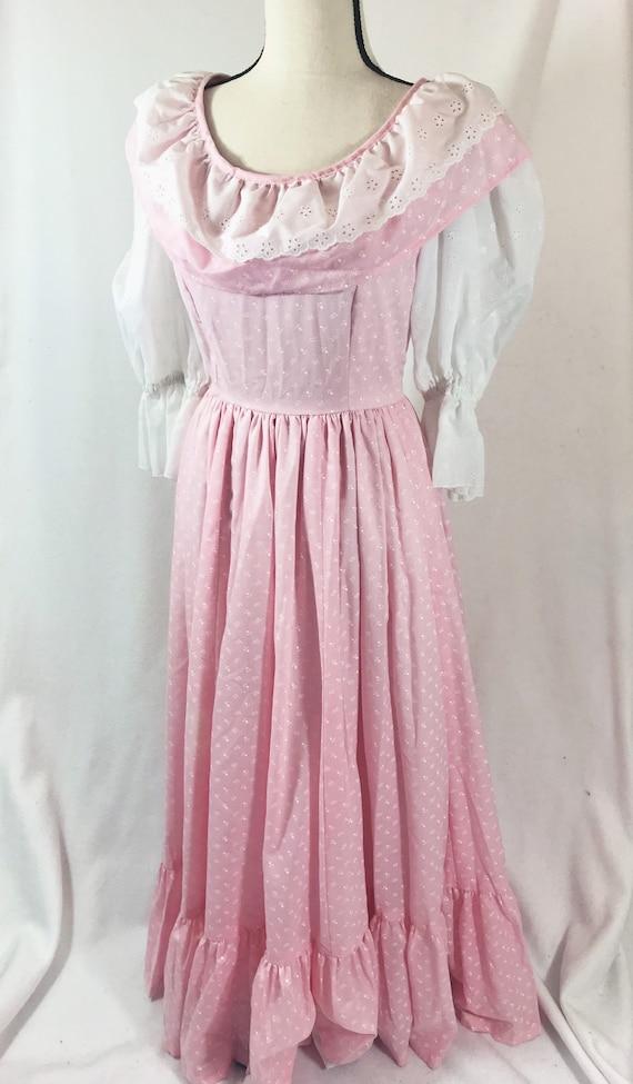 1970s Vintage Eyelet Puff Sleeve Praire Dress Pink