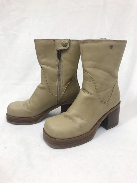 1990s Vintage Leather Platform Ankle Boots - image 6