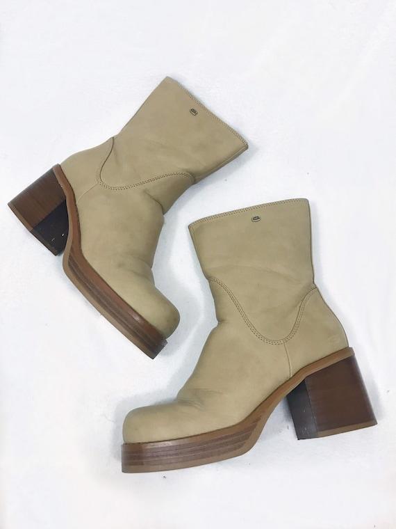 1990s Vintage Leather Platform Ankle Boots - image 1