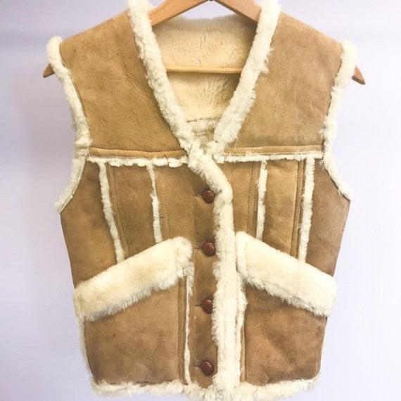 Vtg 70's Genuine Suede Shearling Vest