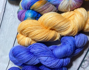 5 skein combination for shawl or sweater project for knitting or crochet | variegated and semisolid yarn