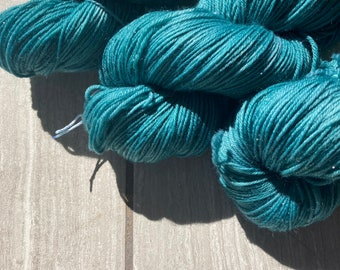 Sarah's Teal Indie Dyed Sparkle Sock Fingering Weight Yarn for crochet, knit, and weaving