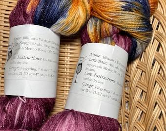 Jillianne's Burgundy Tonal and Variegated Merino/Nylon Sparkle Sock/Fingering weight yarn