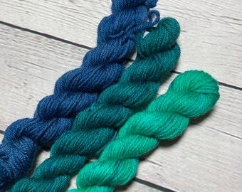 Andromeda Fade | 3 skein yarn fade for shawl | navy blue, dark emerald, and light green for knitting, crochet, weaving