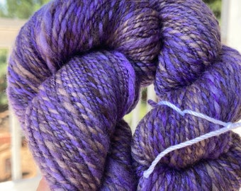 Purple Orchid Hand Spun in fingering weight marled yarn for knitting very soft