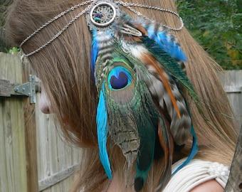 head chain festivals peacock feather head chain headdress  halo head piece jewelry in tribal tribal fusion  boho gypsy hippie  hipster style