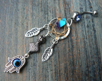 triple heart belly ring silver gold and copper hearts  in fantasy boho gypsy hippie belly dancer and hipster style