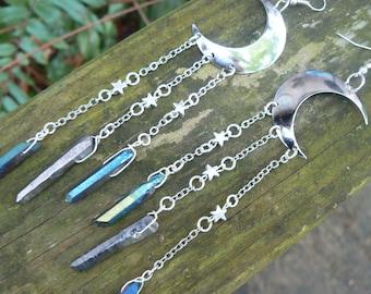 Moon Goddess Earrings,Crescent Moon,Festival, Bohemian Chic, Moon Earrings, Yoga Earrings, Zen Earrings, Quartz Earrings,New Age