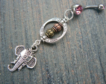 choose 1 bali elephant belly ring pink in zen yoga Indie Morrocan boho hipster new age gypsy hippie belly dancer beach and hipster style