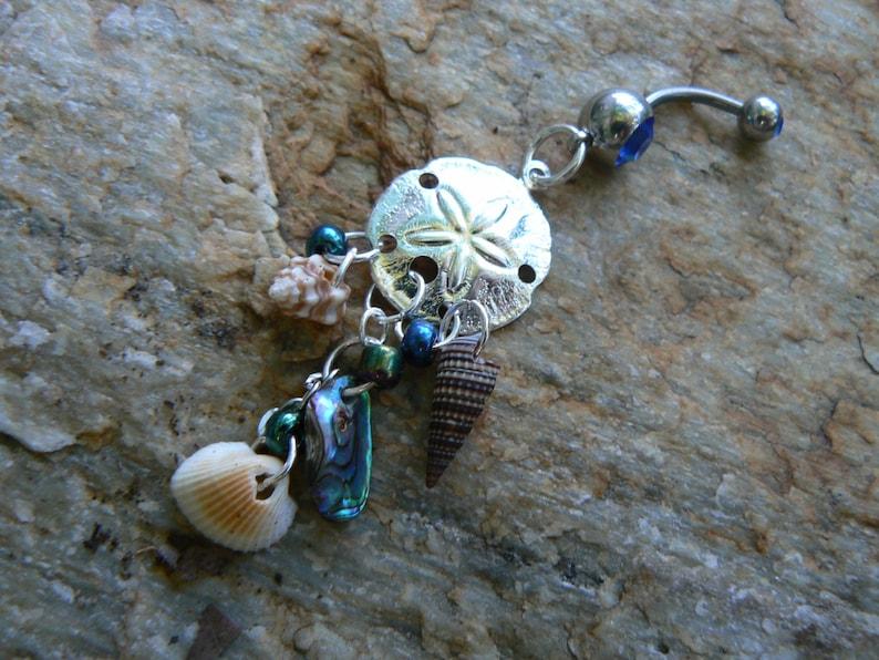 sand dollar belly ring  abalone seashells sand dollar charm in beach boho gypsy hippie belly dancer  beach hipster and fantasy style