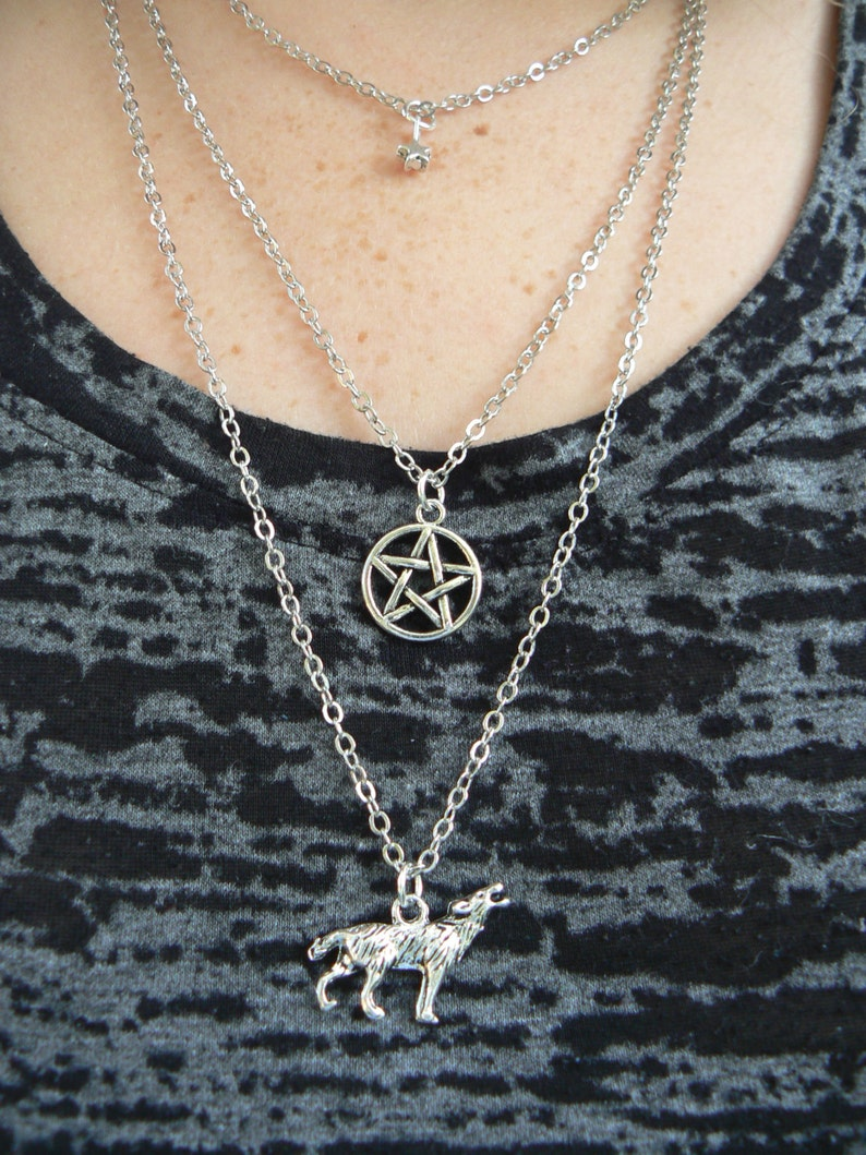 wolf necklace Pagan necklace layered necklace 3 in 1 necklace gypsy soul festival Goth necklace cosplay boho hippie fantasy