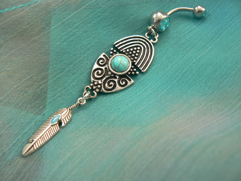 tribal belly ring feather belly ring  in tribal fusion southwest  boho and hipster style