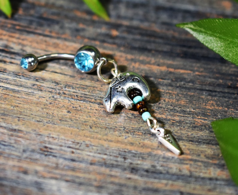 tribal belly ring,bear totem belly ring Cosplay belly ring,zuni bear belly button ring,dangle belly ring body jewelry arrowhead