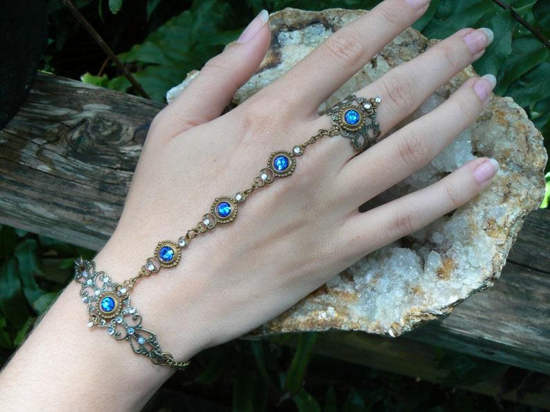 Blue Swarovski  bracelet Renaissance hand chain hand flower image 0