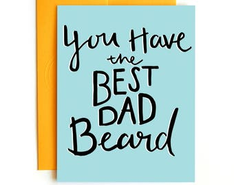 Father's Day Card - Best Dad Beard Card - Manly Fathers Day Card - Confetti - Hand lettered - Funny dad card