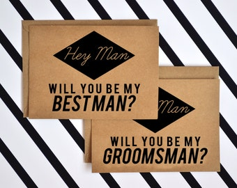 1 DOLLAR SHIPPING - 5 Cards Will You Be My Groomsmen and Best Man Cards Box Set - Wedding Stationery Cards - Groomsmen cards - bridal party