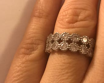 Sterling Silver Double Band CZ Stones Ring Size 7