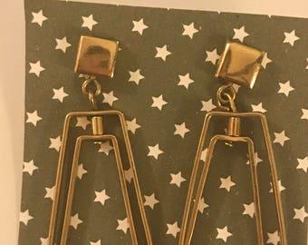 Geometrical Double Rectangle Dangle Earrings