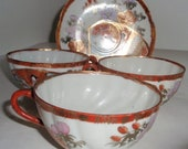 Imari Oriental Cups and Plate Imari Style Marked 4 Pieces Vintage Asian Collectible tea cups and one saucer. Vintage Fine China