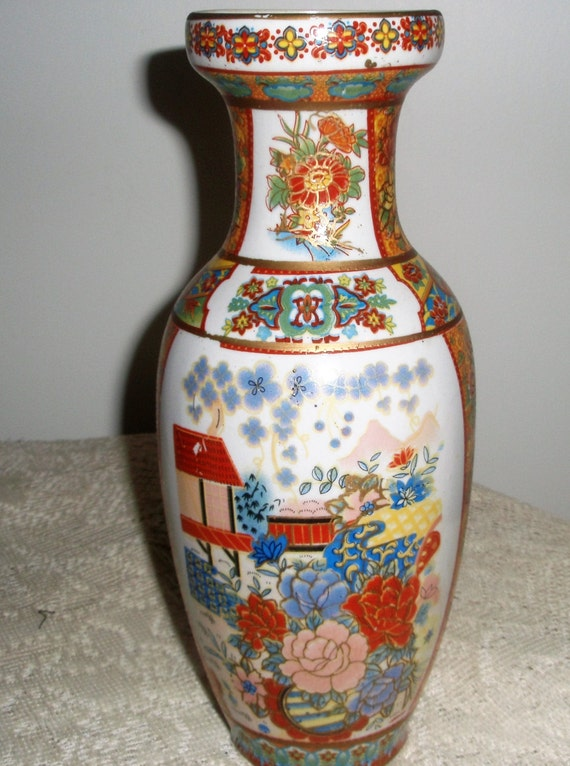 Tall Asian Vase 10 Inch Tall Satsuma Style Vase Made In