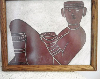 Mayan Drawing, Aztec Tribesman with bowl, Hand drawn pastel, Framed and under glass drawing, Tribal art drawing