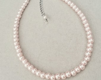 48158b273c2 Soft pink Blush pearl necklace bridesmaid gift, Blush pearls, Blush wedding  necklace