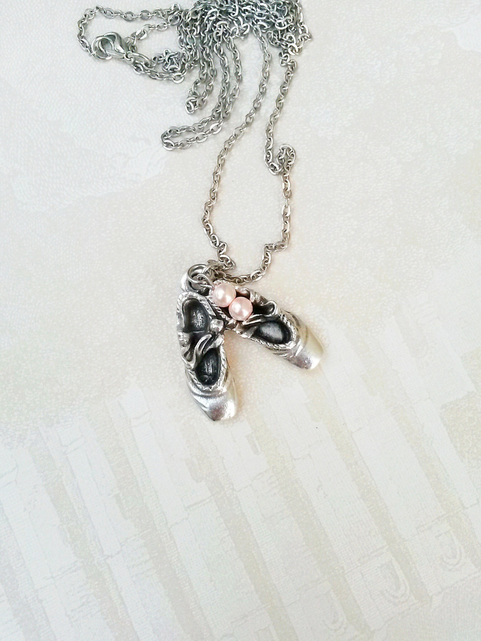 long layering ballet shoes necklace,point shoe necklace,gift for ballet teacher,ballerina gift,love ballet,gift for granddaughte