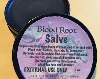 Bloodroot  Salve 1 oz -  Organic / Natural Oils and Herbs, No zinc chloride so no burning Safe product- Blood Root Salve