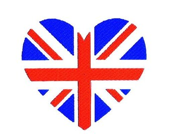 Union Jack Heart Union Flag Embroidery Design