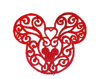Mickey / Minnie Mouse Embroidery Design. Instant Download Disney Lacy Pattern in 2 sizes
