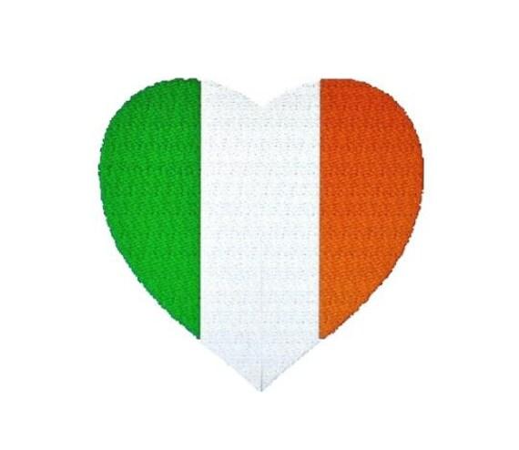 the irish tricolour irish flag heart embroidery pattern etsy