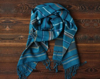 Hand woven cotton and linen scarf, Teal turquoise hand loomed shawl, Colorful multicolor lightweight scarf, Boho luxe accessory gift for her