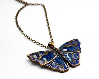 Butterfly pendant, Night moth necklace, Blue glass enamel, Navy insect jewelry, Bohemian bug charm, Statement choker, Long boho necklace