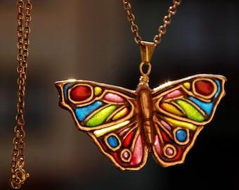 Plique-à-jour butterfly necklace, stained-glass pendant, glass enamel, golden bronze transparent charm, rainbow insect jewelry, vitreous bug
