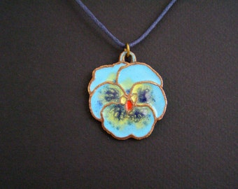 Pansy necklace, Flowery pendant, Glass enamel pendant, Colorful bronze jewelry, Wild flower charm, Navy flower necklace, Blue enamel charm
