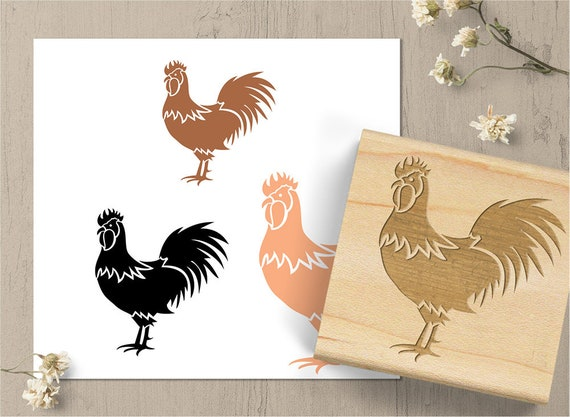 Rooster Stamp Rubber Chicken Country
