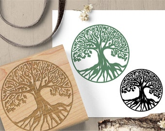 Tree of Life Stamp, World Tree Rubber Stamp, Tree Stamp, Roots Stamp, Journal Stamp, Ancient Symbol Stamp 207